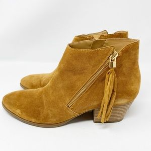 Franco Sarto Brown Suede GAGE Zip Up Ankle Boots